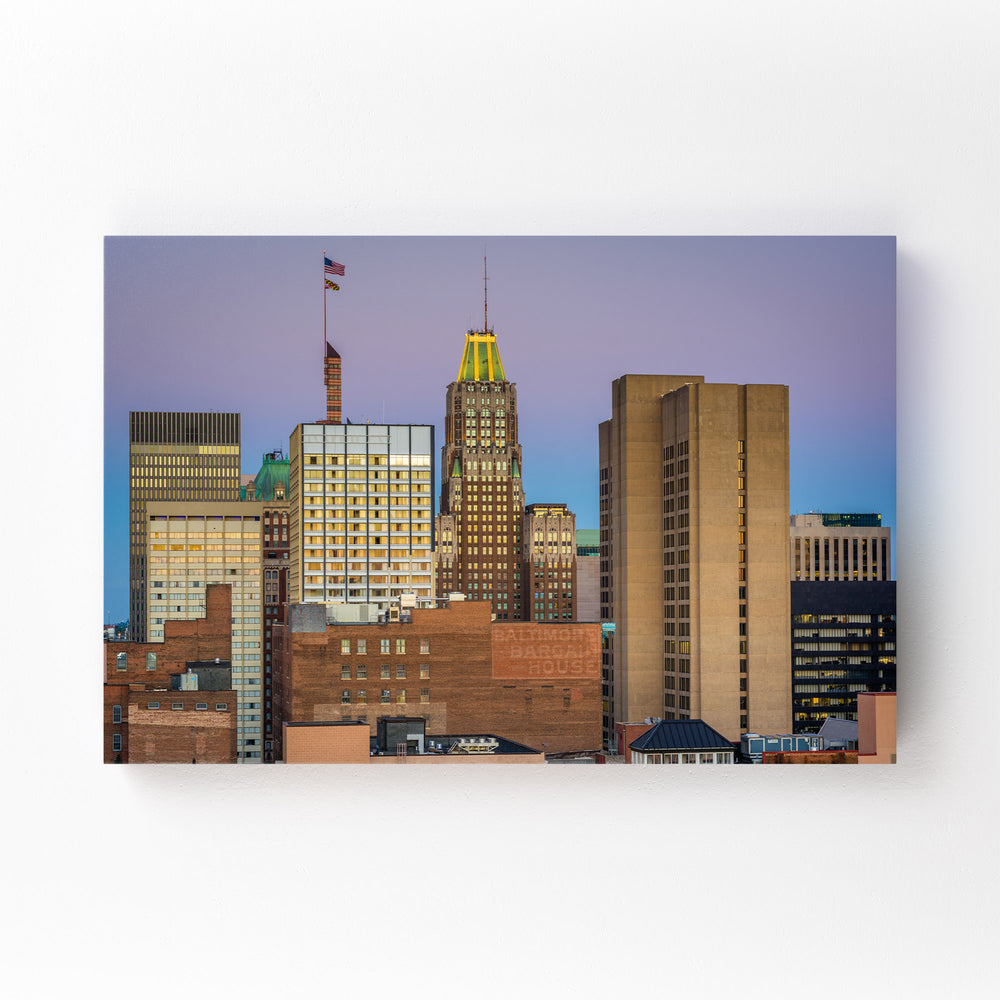 Baltimore MD Downtown Skyline Mounted Art Print