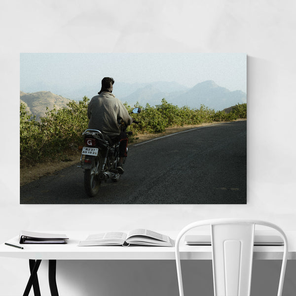 Motorcylce Dirt Road Udaipur Art Print