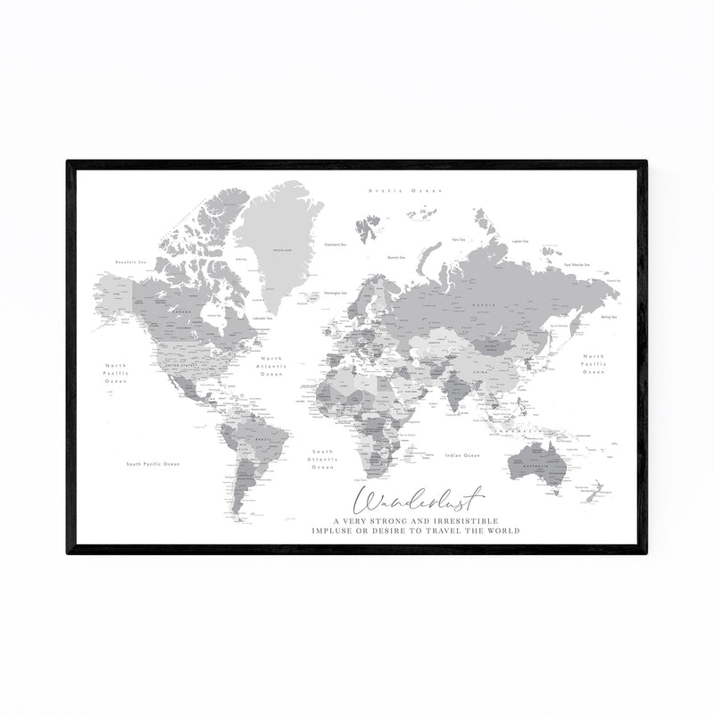 Green Wanderlust World Map Framed Art Print