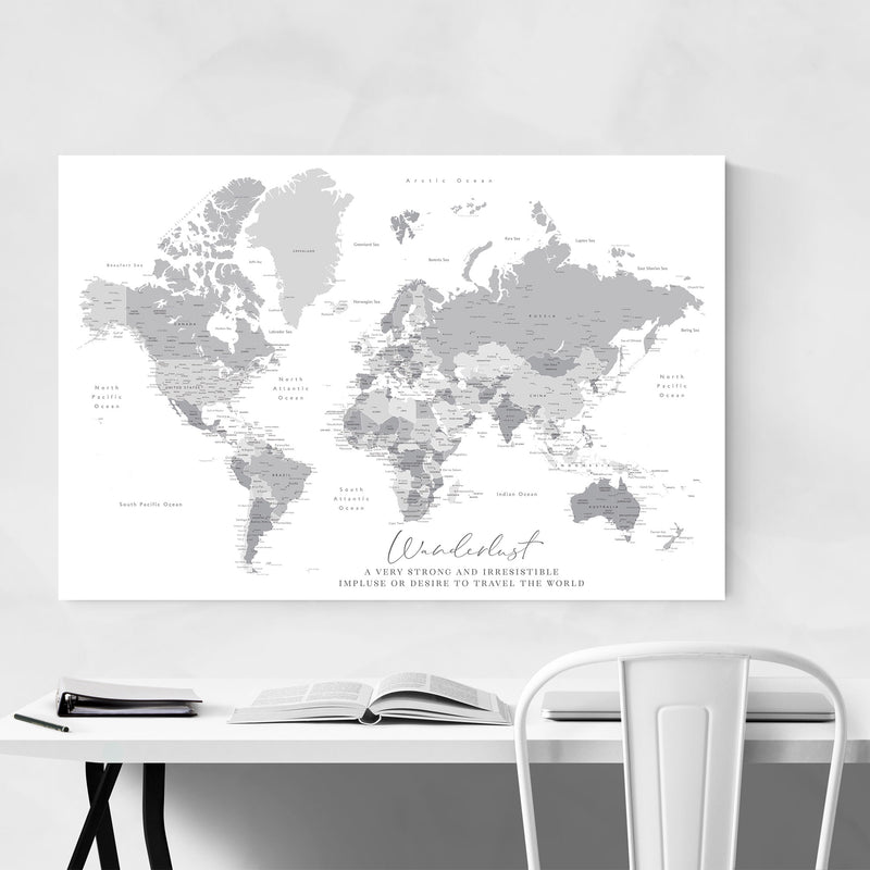 Green Wanderlust World Map Metal Art Print