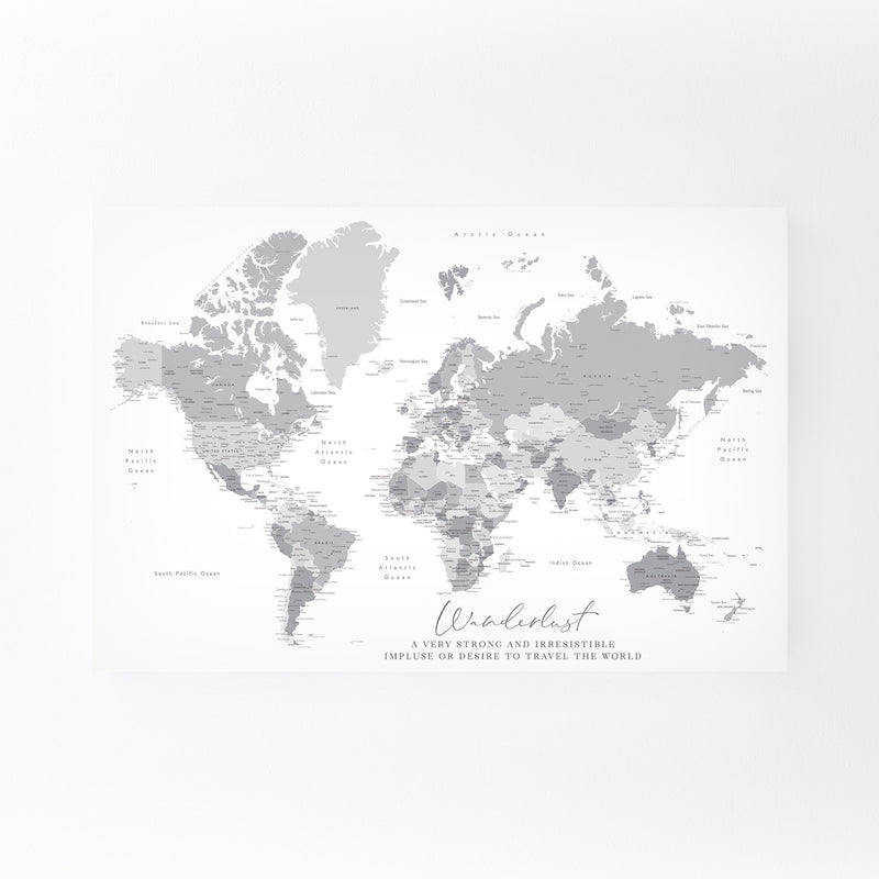 Green Wanderlust World Map Canvas Art Print