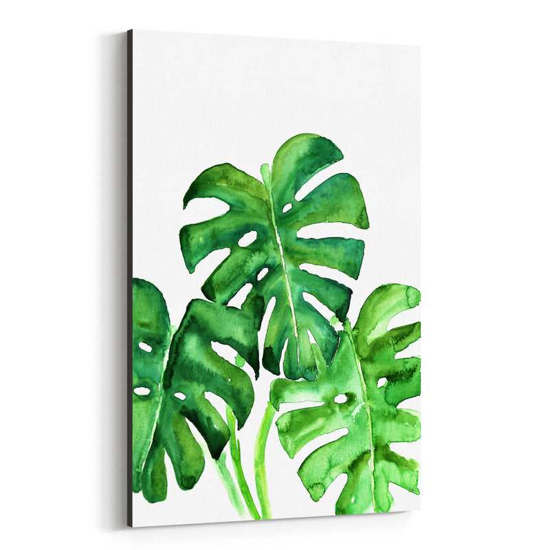 Watercolor Monstera Leaves Canvas Art Print