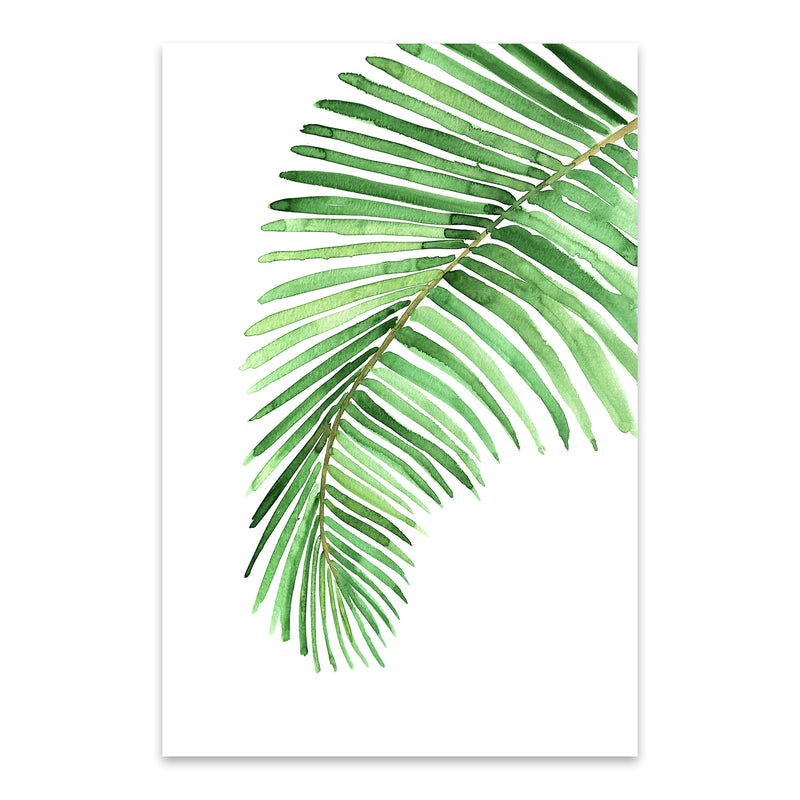 Watercolor Palm Leaf Metal Art Print