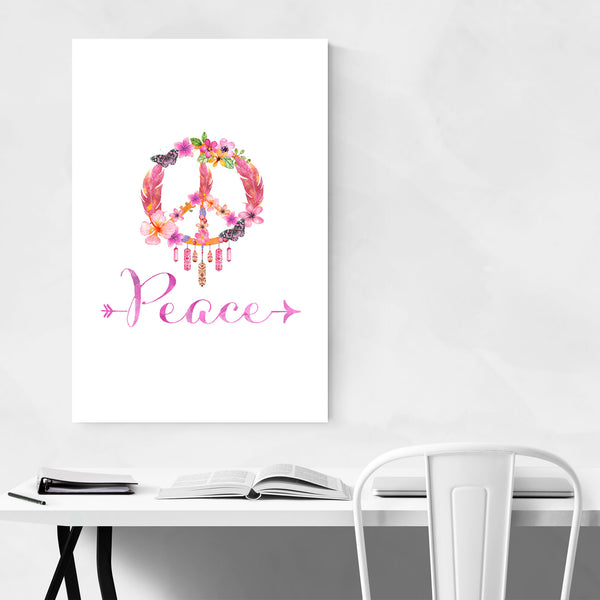 Peace Quote Symbol Floral Art Print
