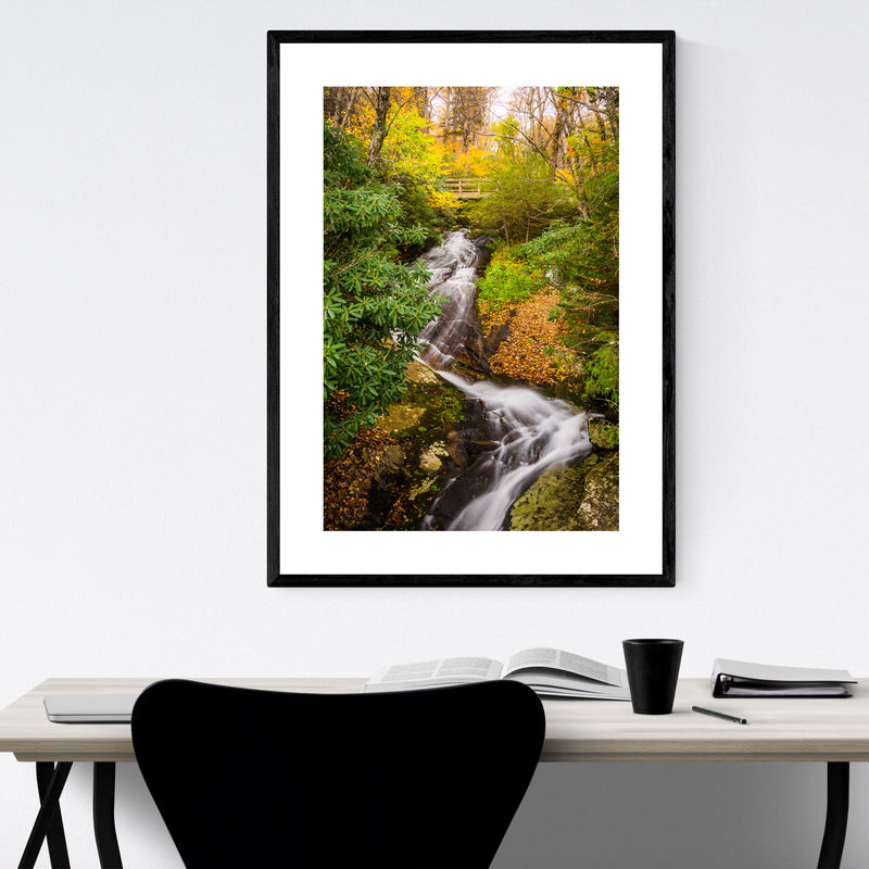 Blue Ridge Parkway Waterfall Framed Art Print