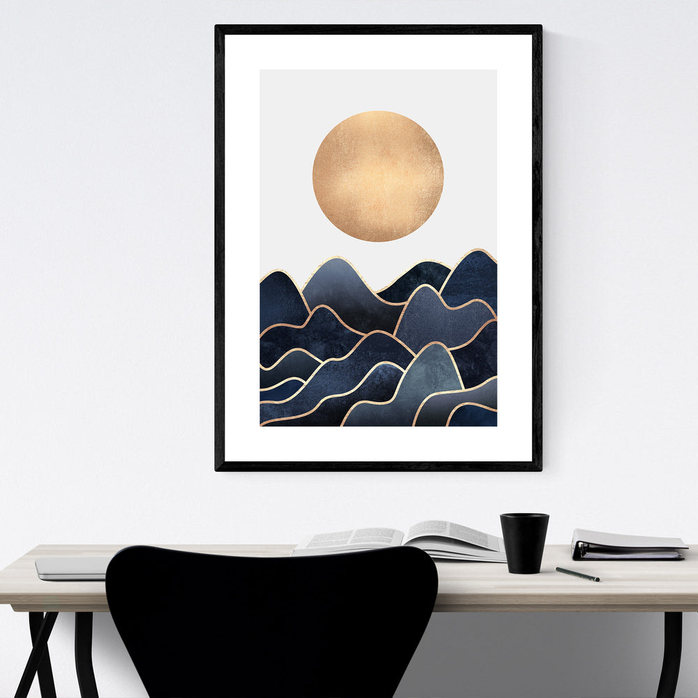 Blue Waves Ocean Coastal Nature Framed Art Print