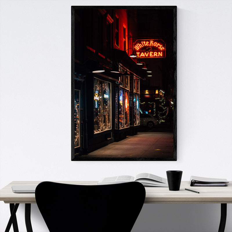 Bar Neon Sign New York City Framed Art Print