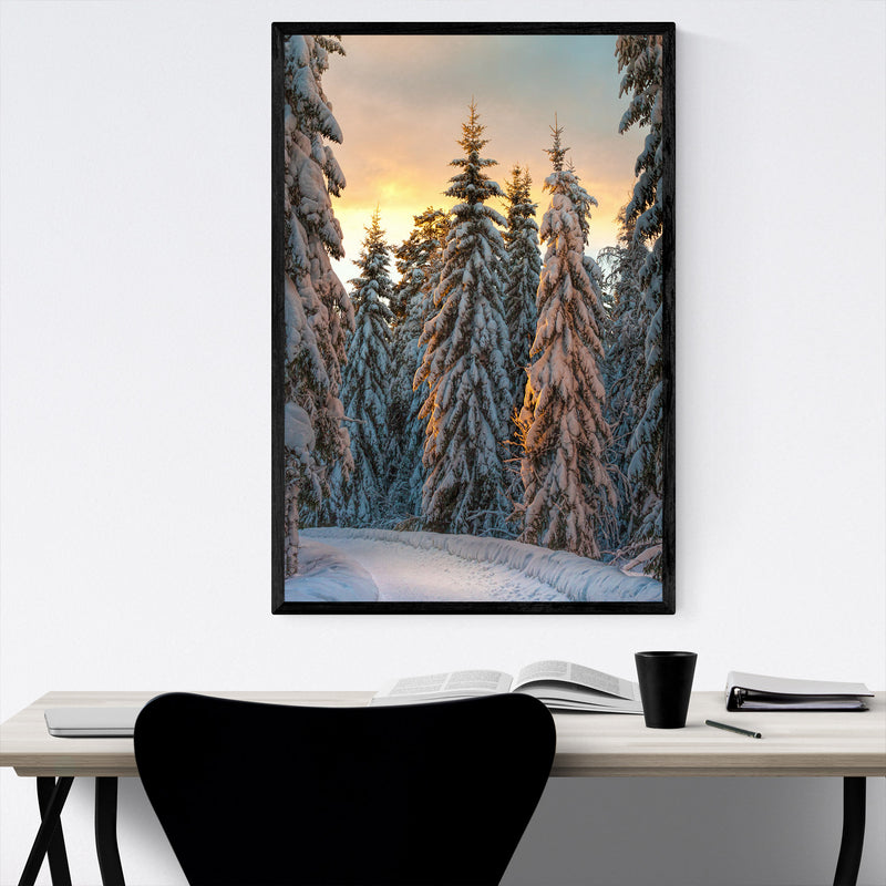 Winter Snow Forest Path Sweden Framed Art Print