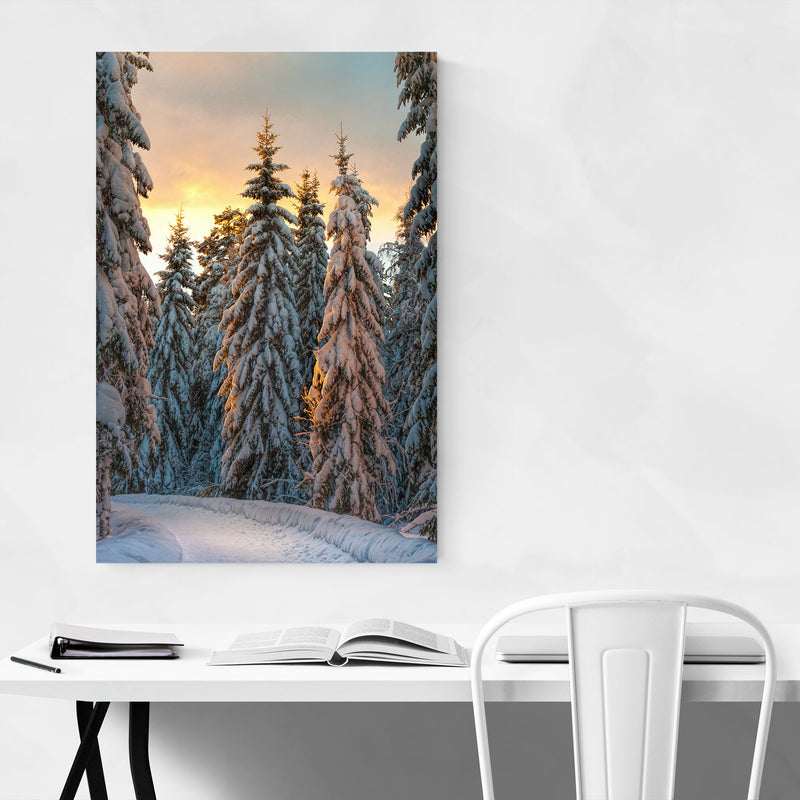 Winter Snow Forest Path Sweden Canvas Art Print