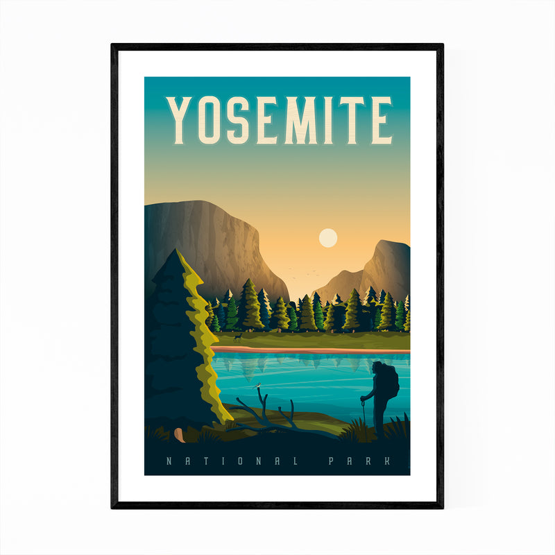Minimal Yosemite Travel Print Framed Art Print