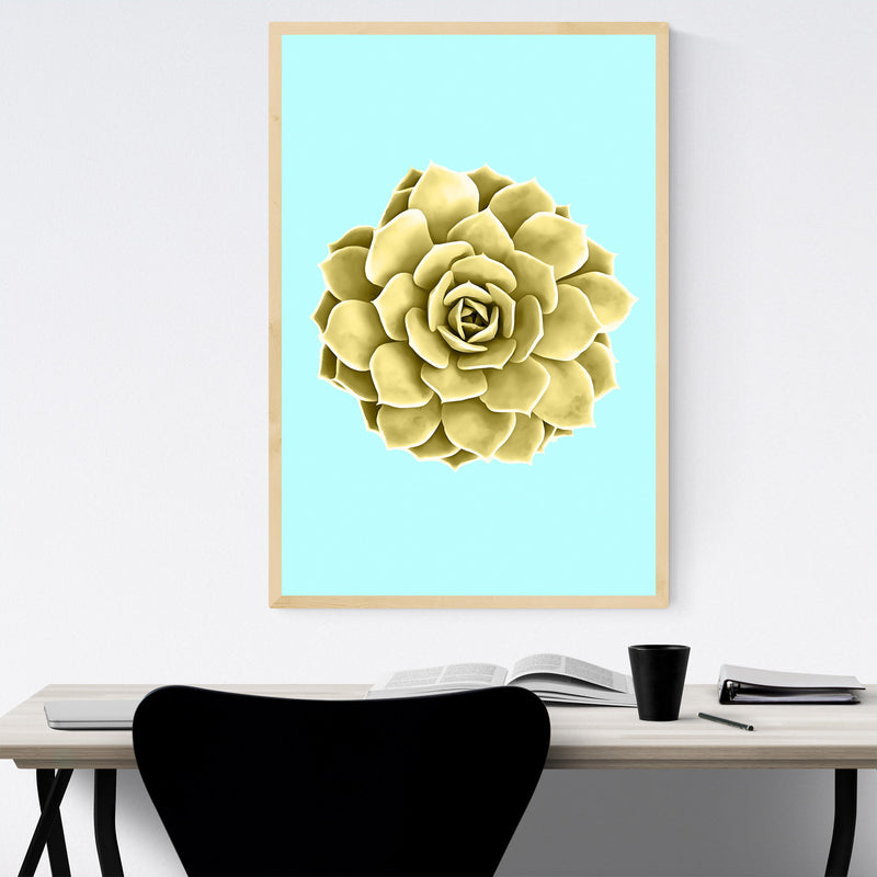 Yellow Succulent Botanical Teal Framed Art Print