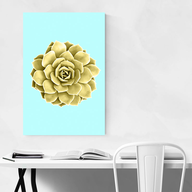 Yellow Succulent Botanical Teal Metal Art Print