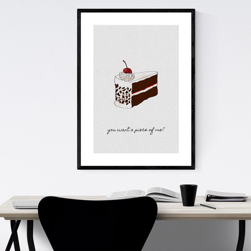 Kitchen Baking Cake Food Quote Framed Art Print