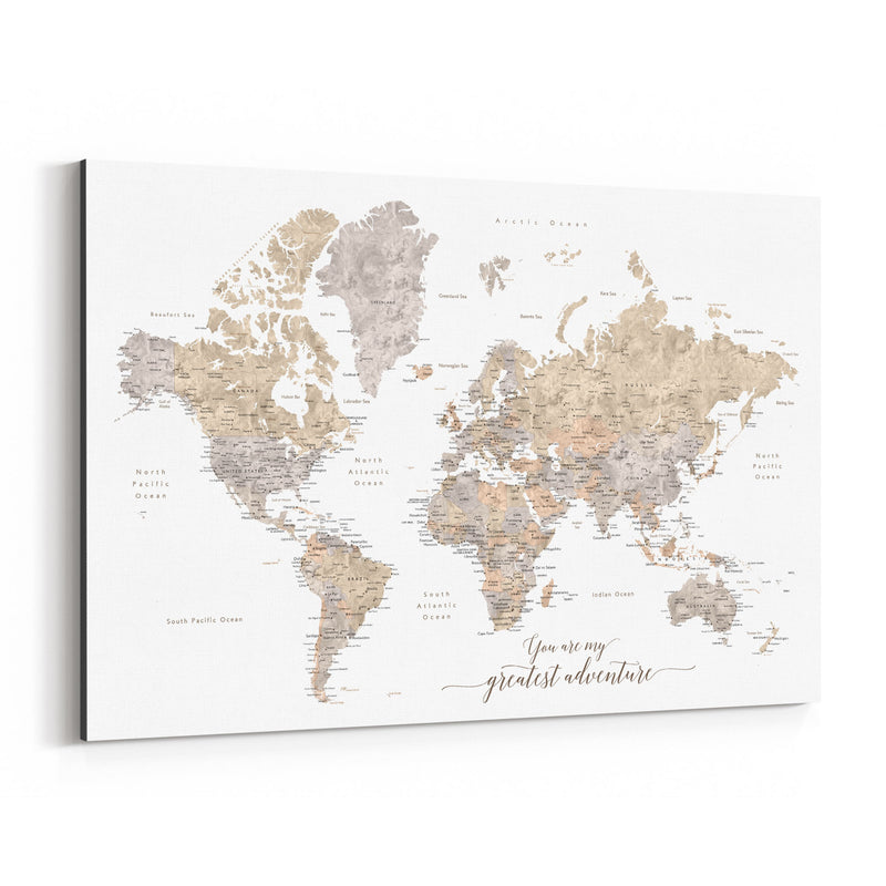 Adventure Rustic World Map Canvas Art Print