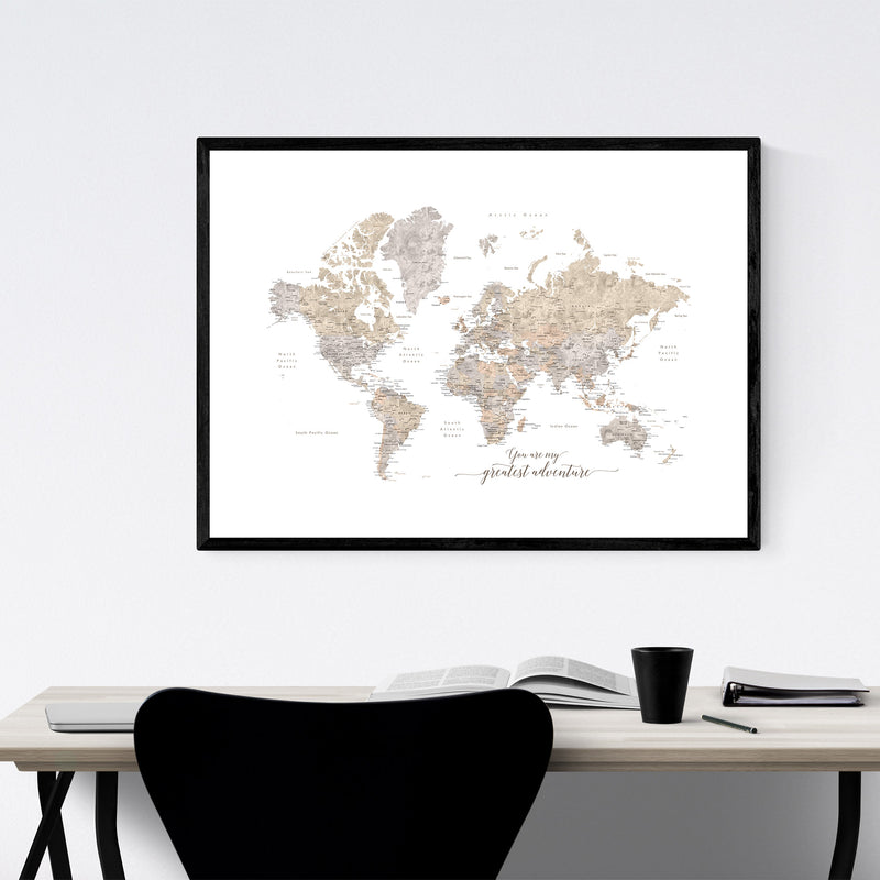 Adventure Rustic World Map Framed Art Print