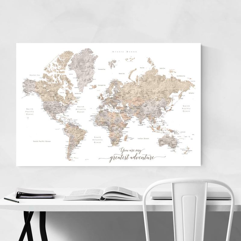 Adventure Rustic World Map Metal Art Print