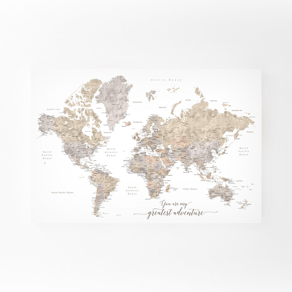 Adventure Rustic World Map Mounted Art Print