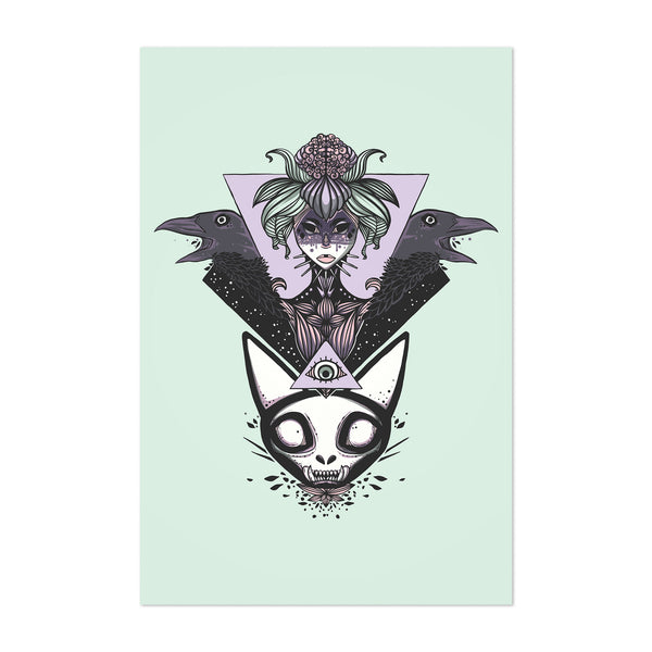 Witch Crows Cat Skull Fantasy Art Print