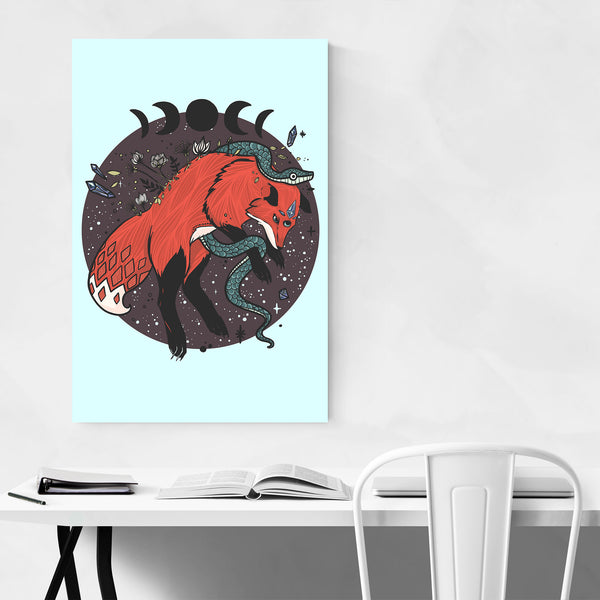 Fox Moon Snake Fantasy Art Print