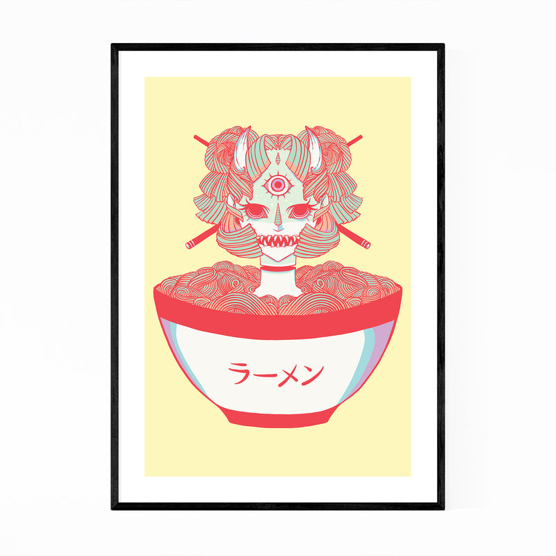Ramen Noodles Japan Feminine Framed Art Print