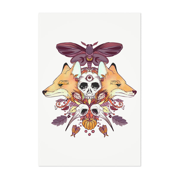 Symmetrical Animals Design Art Print