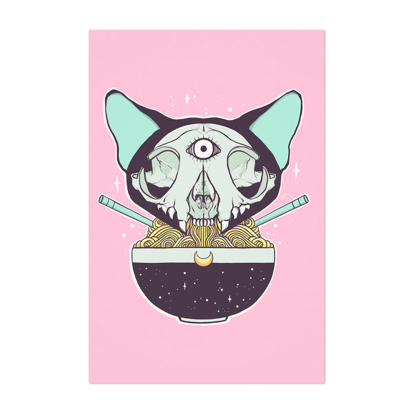 Cat Skull Ramen Noddles Japan Art Print
