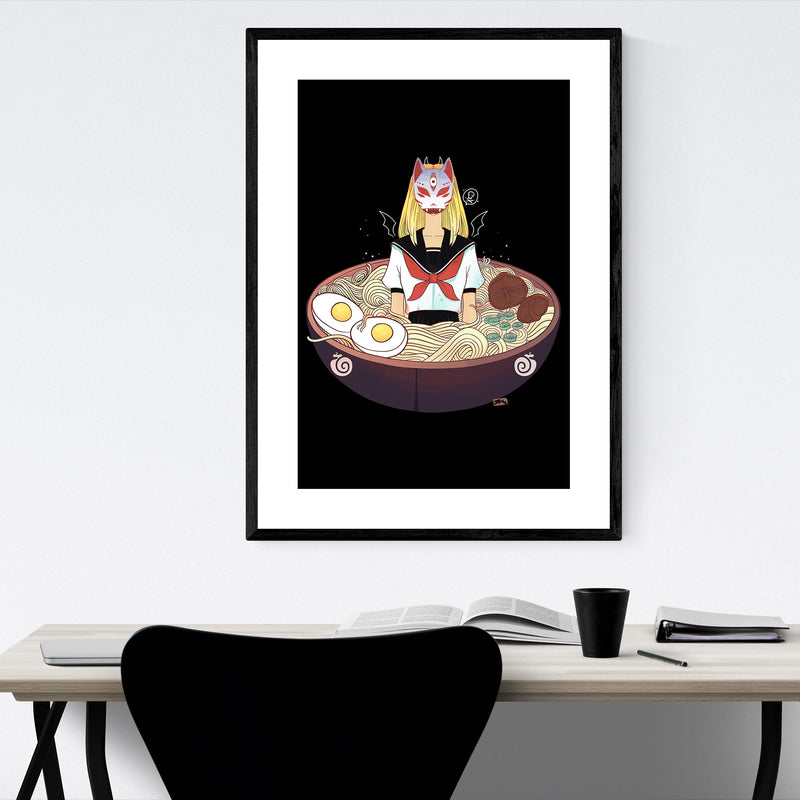 Japanese Anime Girl Ramen Framed Art Print