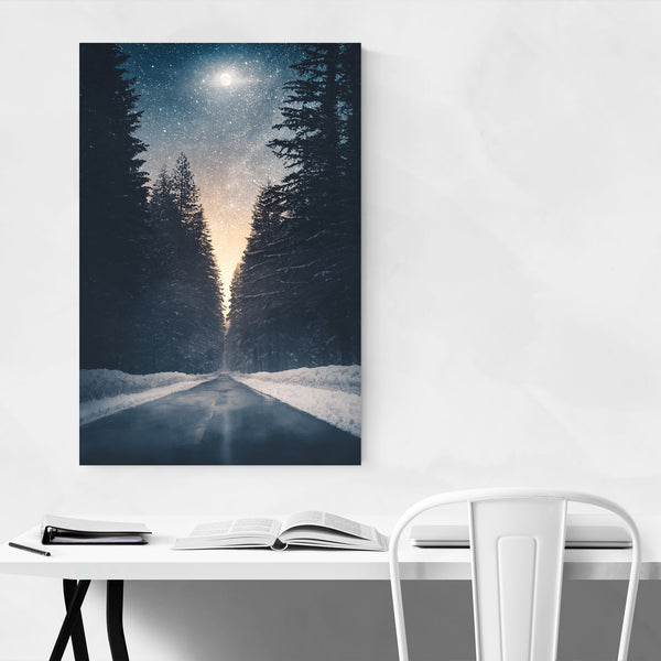 Winter Landscape Night Sky Stars Art Print