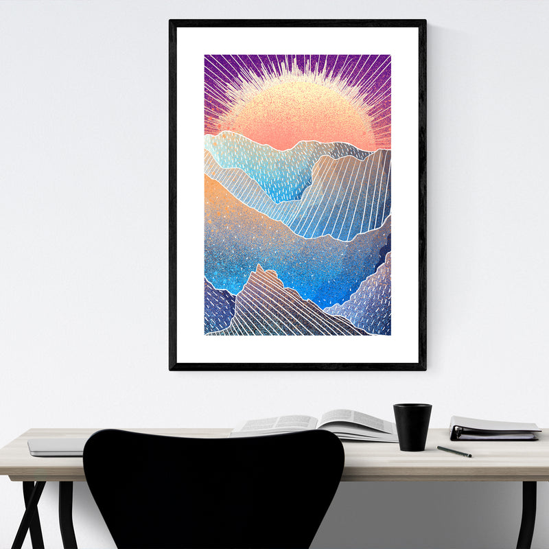 Abstract Sun Nature Landscape Framed Art Print