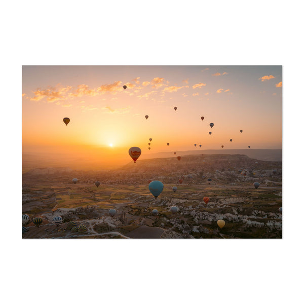 Göreme Turkey Mountains Balloons Photo Art Print