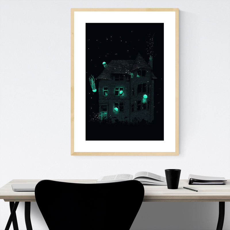 Dark Spooky Haunted House Framed Art Print