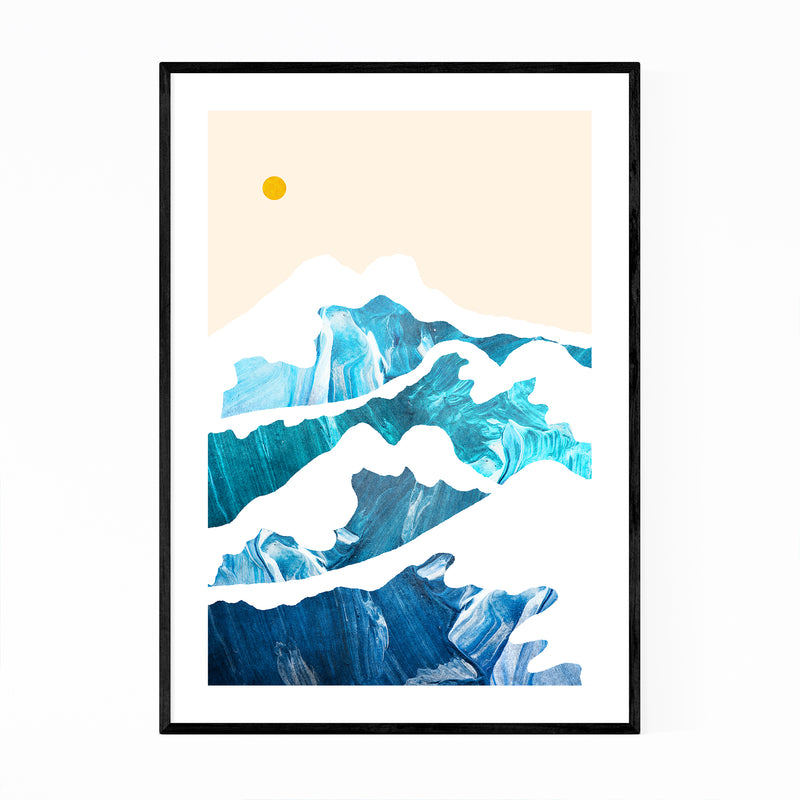 Beach Waves Nature Abstract Framed Art Print