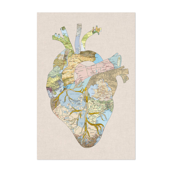 Travel Map Human Heart Anatomy Art Print