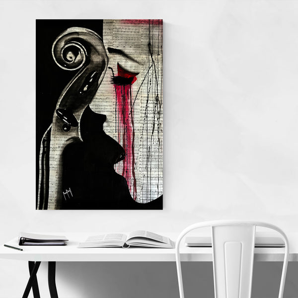 Cello Sheet Music Woman Art Print