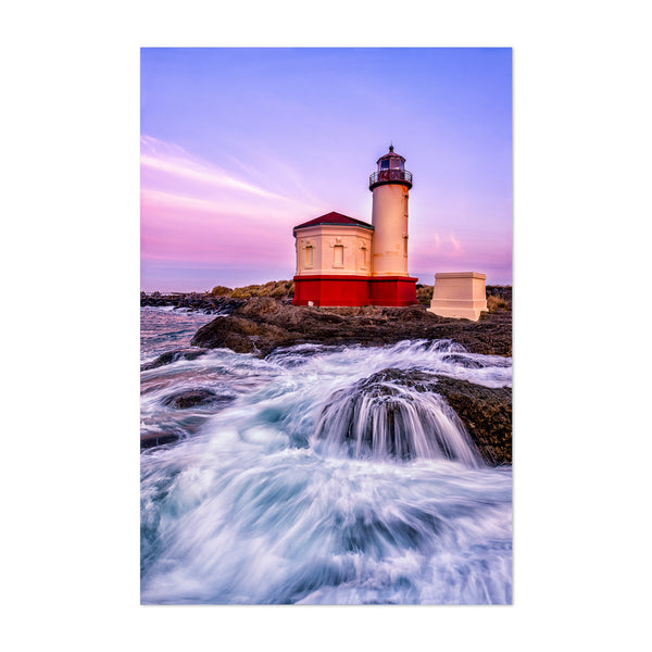 Coquille River Lighthouse Waves Art Print