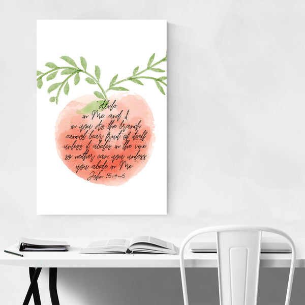 John 15:4-5 Bible Typography Art Print