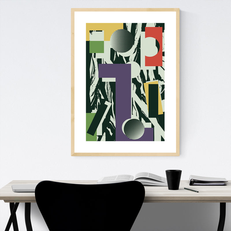 Abstract Colorful Geometric Framed Art Print