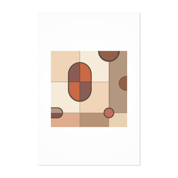Abstract Minimal Brown Cream Art Print
