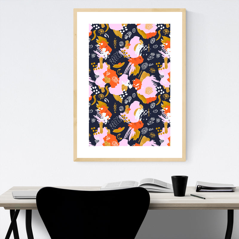 Abstract Bohemian Brushstrokes Framed Art Print