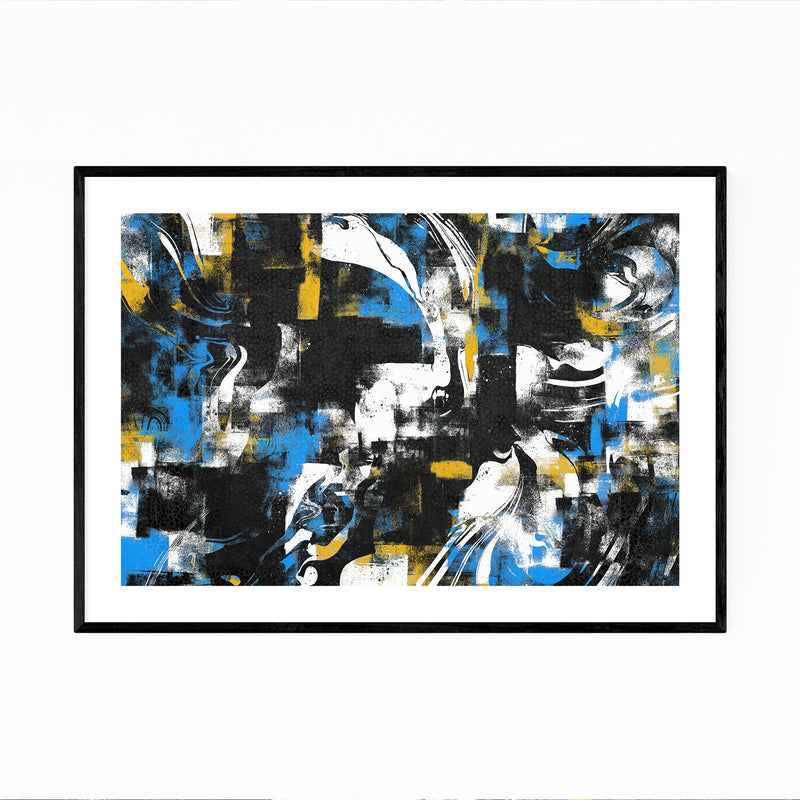 Abstract Black Blue Yellow Curves Framed Art Print