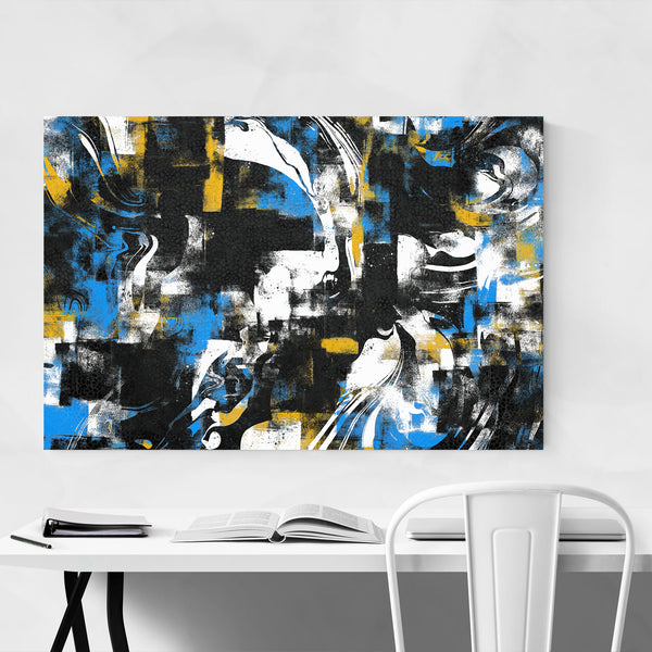 Abstract Black Blue Yellow Curves Art Print