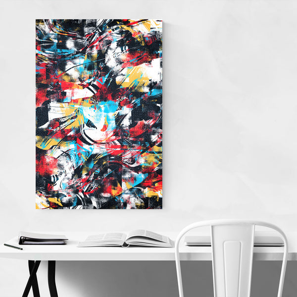 Abstract Black Red Yellow Curves Art Print