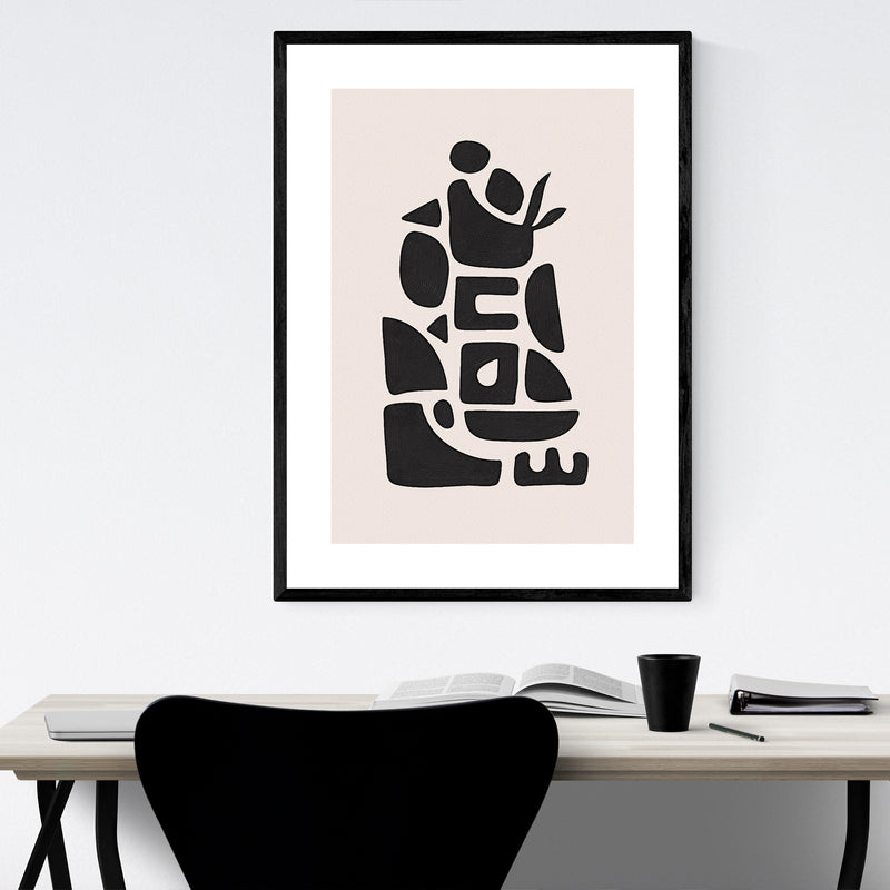 Abstract Minimal Modern Shapes Framed Art Print