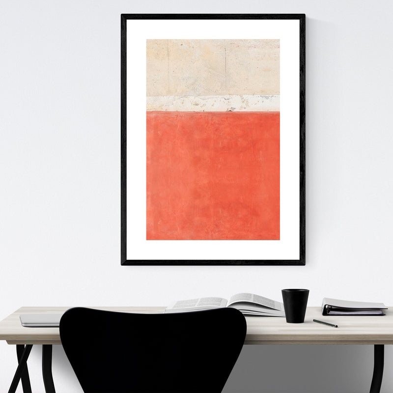 Red Wall Minimal Abstract Italy Framed Art Print