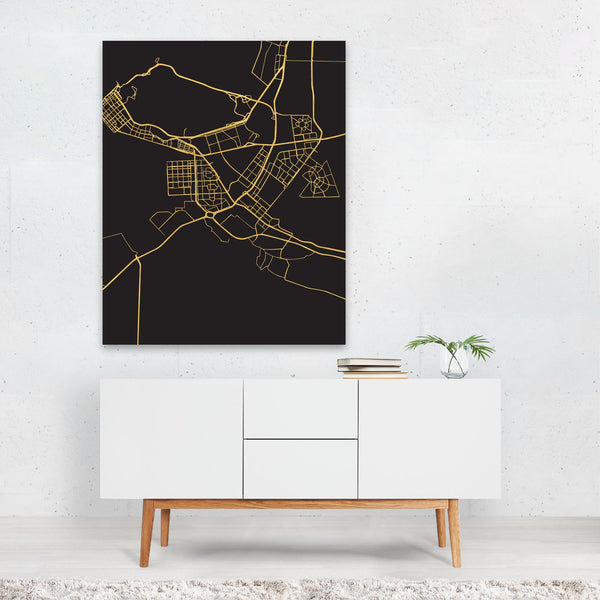 Abu Dhabi UAE Map Art Print