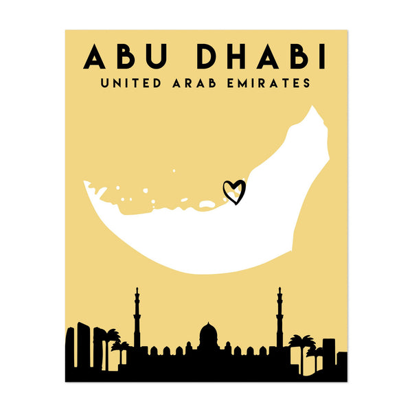 Abu Dhabi UAE Heart Map Art Print