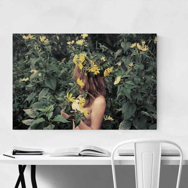 Floral Girl Feminine Forest  Art Print