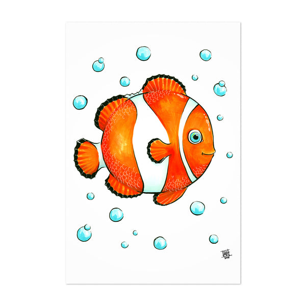 Clownfish Bubbles Childrens Art Nursery Art Print