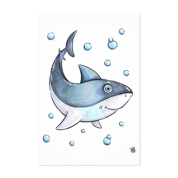 Cute Shark Kids Art Nursery Art Print
