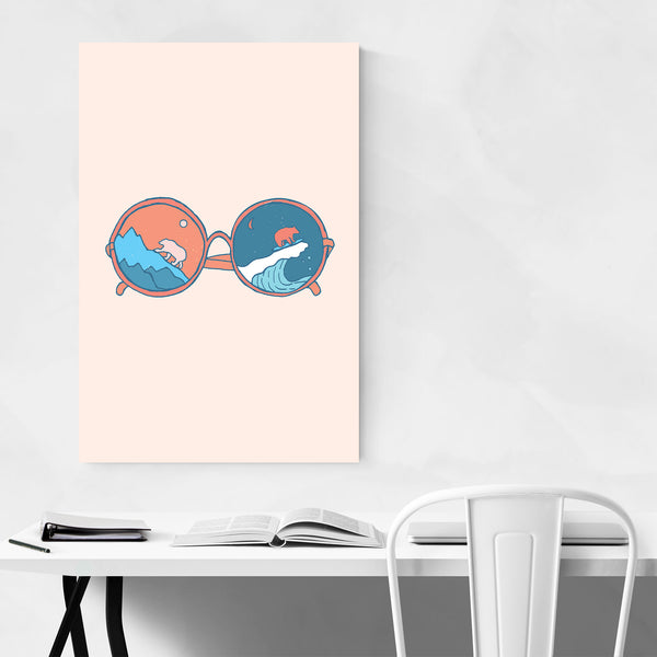 Bear Sunglasses Cute Surfing Animal Art Print